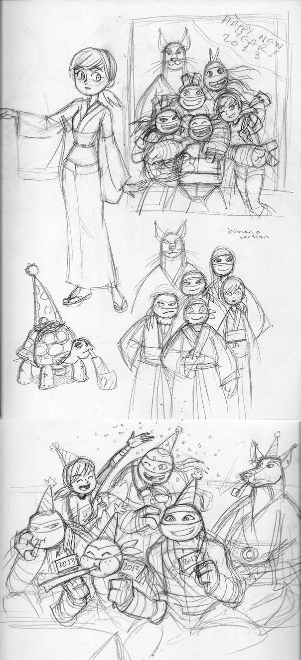 TMNT 2012-Happy New Year sketches by nanashi on deviantART
