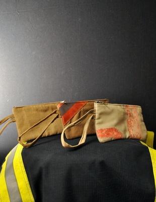 Used Bunker Gear Ladies Clutch (Tan)- Black Helmet Firefighter Apparel