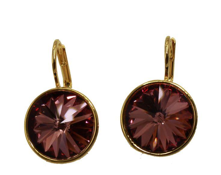 Swarovski Elements Fuschia Bella Earrings Gold Plated Dangle Earrings