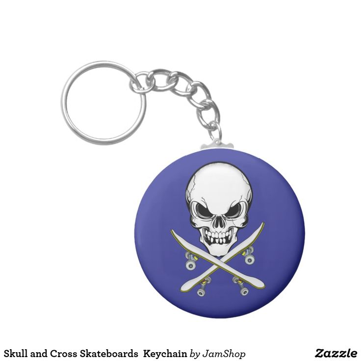 Skull and Cross Skateboards  Keychain
