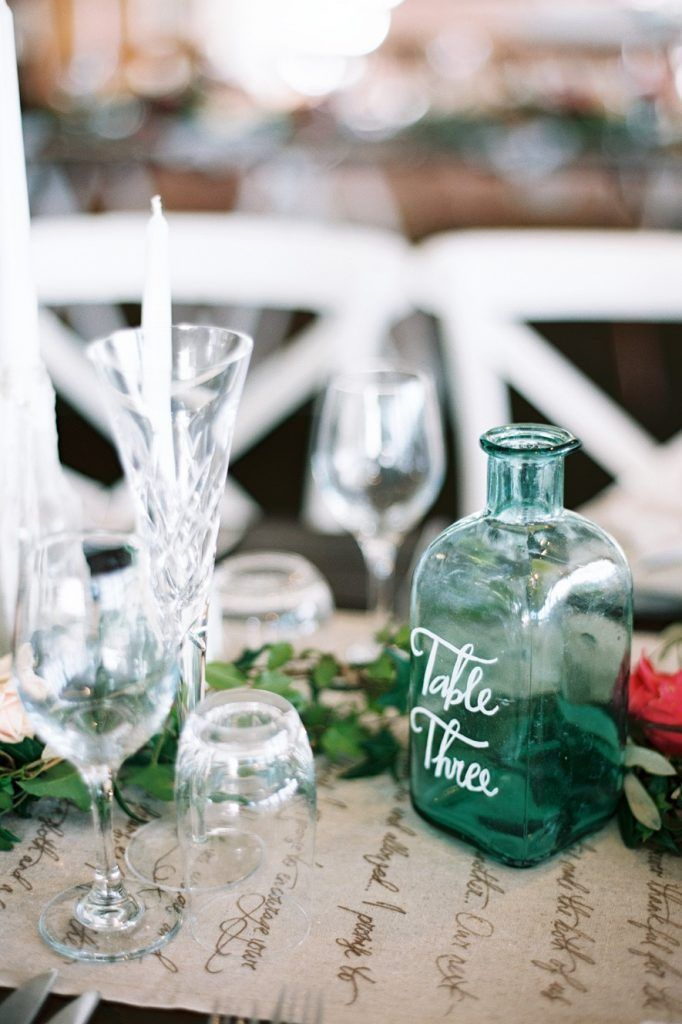 Bottle Table Numbers - Lovebird Weddings, Noosa Australia