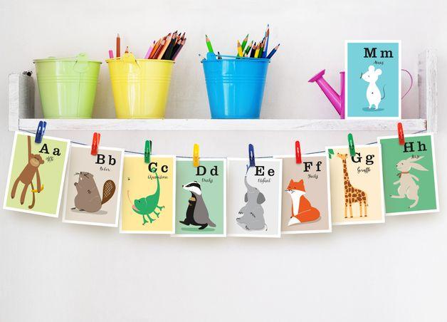 Tier Alphabet: D wie Dachs A6 // alphabet animals by fiftyfour-media-illustration via DaWanda
