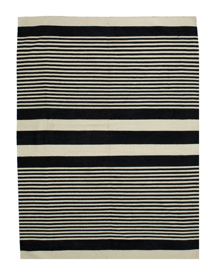 Kelim - blue lines 1343                  3.00 x 2.50m Composition Wool on Cotton Hand-woven Flat pile Was R 16 500 -50 % Now R8 250