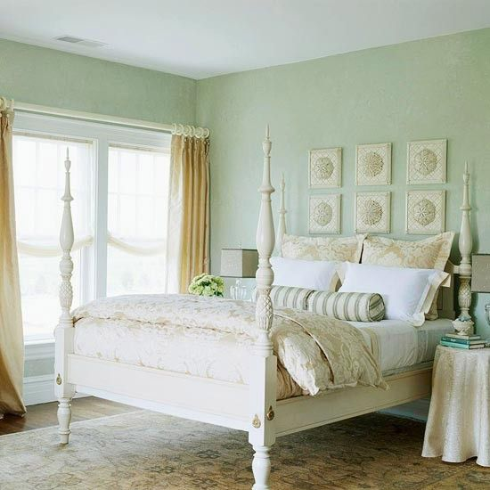 Sand Color D Bedding Pale Seafoam Green Walls Evoke The Misty Moods Of Ocean A Slightly Distressed Four Poster Channels An Old Fashioned Beach
