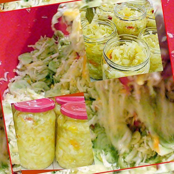 INGREDIENTE 1 PORTIE : 1.5 kg varza de toamna, 1.5 kg castraveti, 1.5 kg ardei grasi, 1/2 kg ceapa, 200 ml otet, sare la vrac, zahar dupa gust, piper alb macinat dupa gust (cine doreste poate sa puna boabe de piper ), 1 lingura salicil(sau praf conservant), foi de dafin, PREPARARE : Varza, castravetii ,ardeii