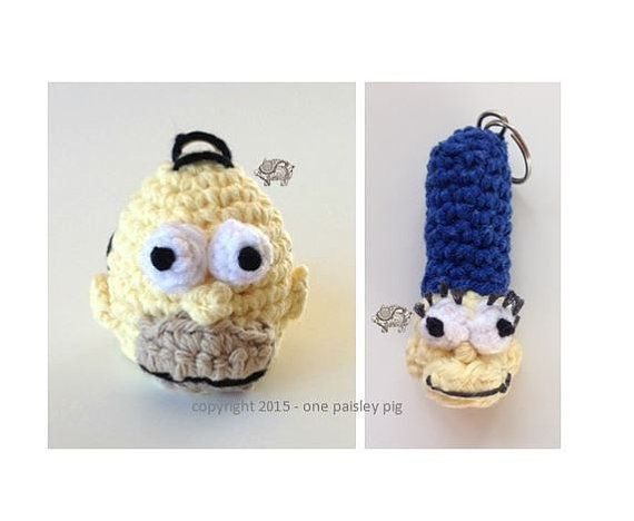 Lip Balm Holders - Homer & Marge Simpson - Crochet pattern ....   eos / crochet ideas / diy