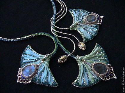 """Zestawy biżuteria ręcznie. Fair Masters - ręcznie. Kup Naszyjnik i kolczyki z wstążką Shibori """"Bird Of Paradise"""". Handmade."""