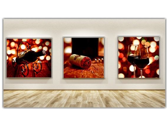 Uncorked decor for kitchen bar dining room set of 3 for Wine and dine wall art