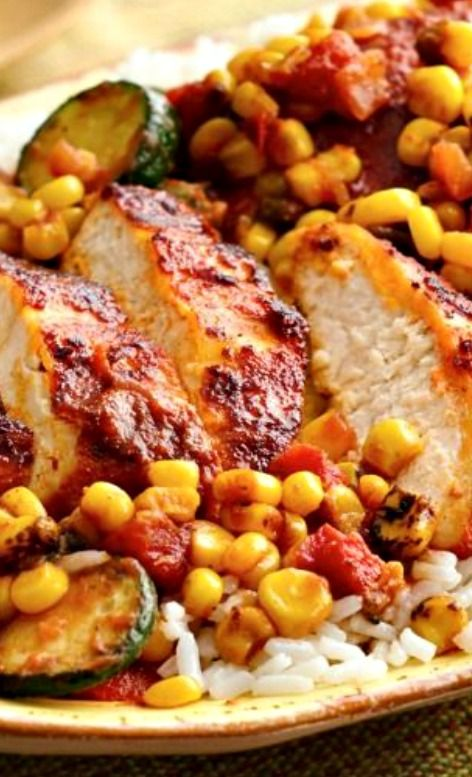 Southwest Chicken with Honey Roasted Corn Salsa ~ Zesty chicken with rice and honey-roasted corn salsa in under 30 min!