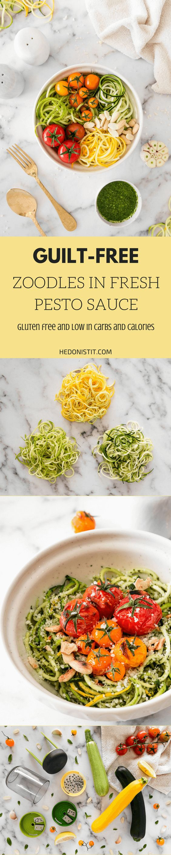How to cook Zoodles in a fresh pesto sauce {clean eating} - A great low calorie, fresh dish, yummy and easy to make! Great For weight loss and for veggie lovers!