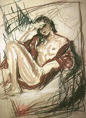 """""""Senza titolo (donna sulla terrazza, schizzo preparatorio)"""", grafite e pastelli su carta, 1986, cm 50×70"""