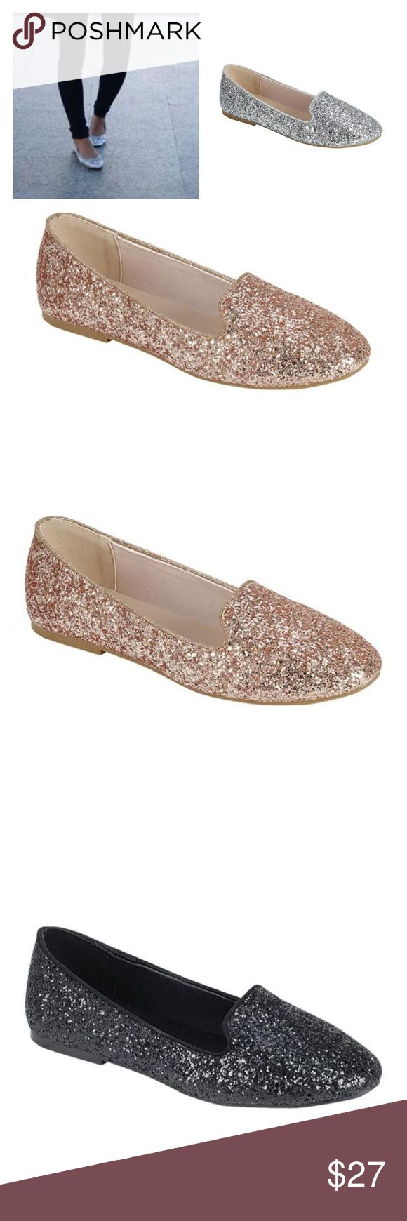 Rose Gold Glitter Loafers, Glitter Flats, 4 Colors Rose gold is in stock! Other colors Arrives Soon- Trending pair of vegan leather glitter flats. These go with almost anything! Pair with jeans and a tops or a dress. Available in rose gold, gold, black, and silver. Unlabeled sizes are for the rose golds. Price is firm unless bundled. Thank you 💕 Shoes Flats & Loafers