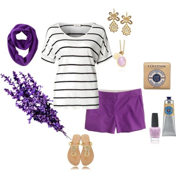 """""""Lavender"""" by mandys120 on Polyvore  So wanting some purple shorts now...."""