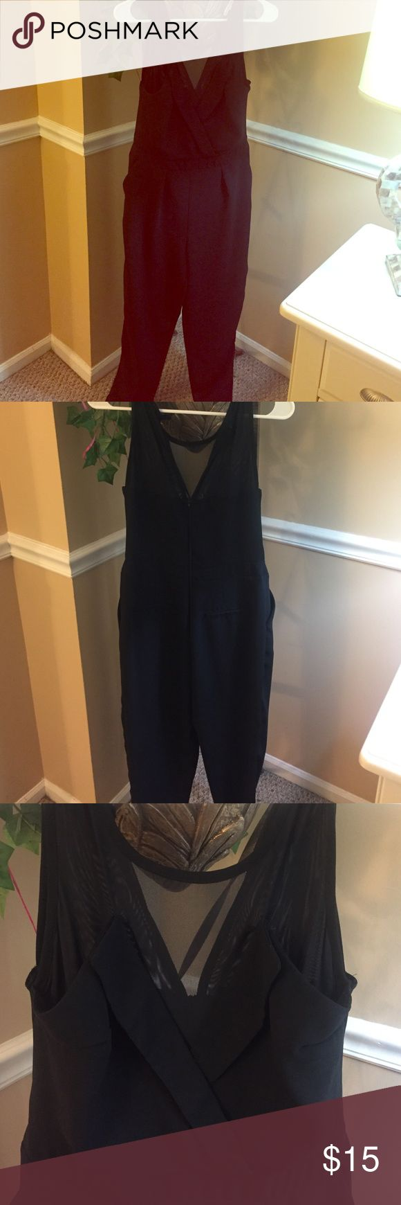 Beautiful black pant romper! Fairly new, beautiful black pant romper! I wore this romper once and loved it. Unfortunately it does not fit me anymore. It is very classy but also sexy at the same time, it has pockets, and looks great on. Perfect for holiday parties, etc! Charlotte Russe Other