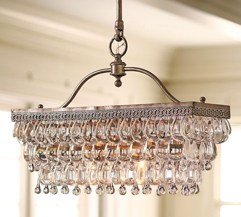 Unusual Rectangular Chandelier Makes A Focal Point In Your Dining Room Decor Furnishings What About Using An Old Silver Piece