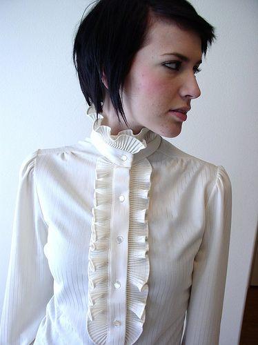 1 button high collar blouse by blous_o_mania, via Flickr