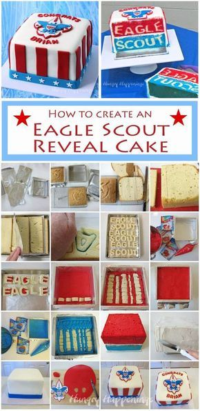Learn how to make an Eagle Scout Reveal Cake that will truly impress at your Eagle Scout ceremony. See the tutorial at Hungry Happenings.