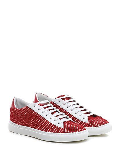 Be Positive - Sneakers - Uomo - Sneaker in pelle e tessuto a retina con suola in gomma. Tacco 30. - RED\WHITE - € 215.00