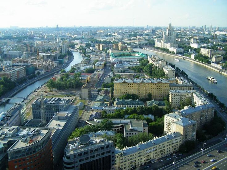 Moscow from bird's-eye view.Life between two  rivers.