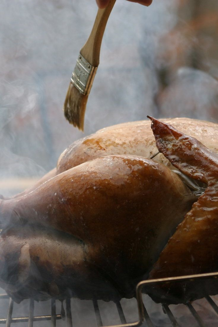 This recipe, from the barbecue expert Steven Raichlen, was originally published alongside a pair of recipes for smoking the Thanksgiving turkey: one that has you smoking it outdoors on a charcoal grill, the other indoors using a stovetop smoker and a conventional oven But there's no reason you couldn't brine the turkey according to the method below and then roast it to bronzed perfection.