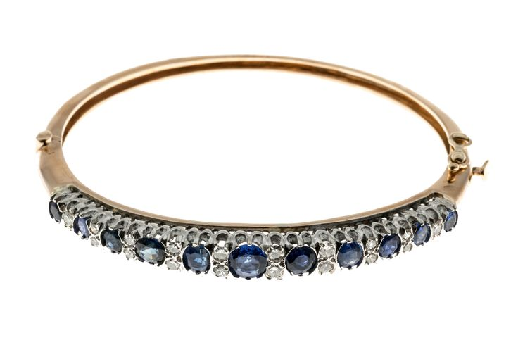 Vintage 5.50ct Natural No Heat Sapphire 14k .40ct Diamond Oval Bracelet - petersuchyjewelers