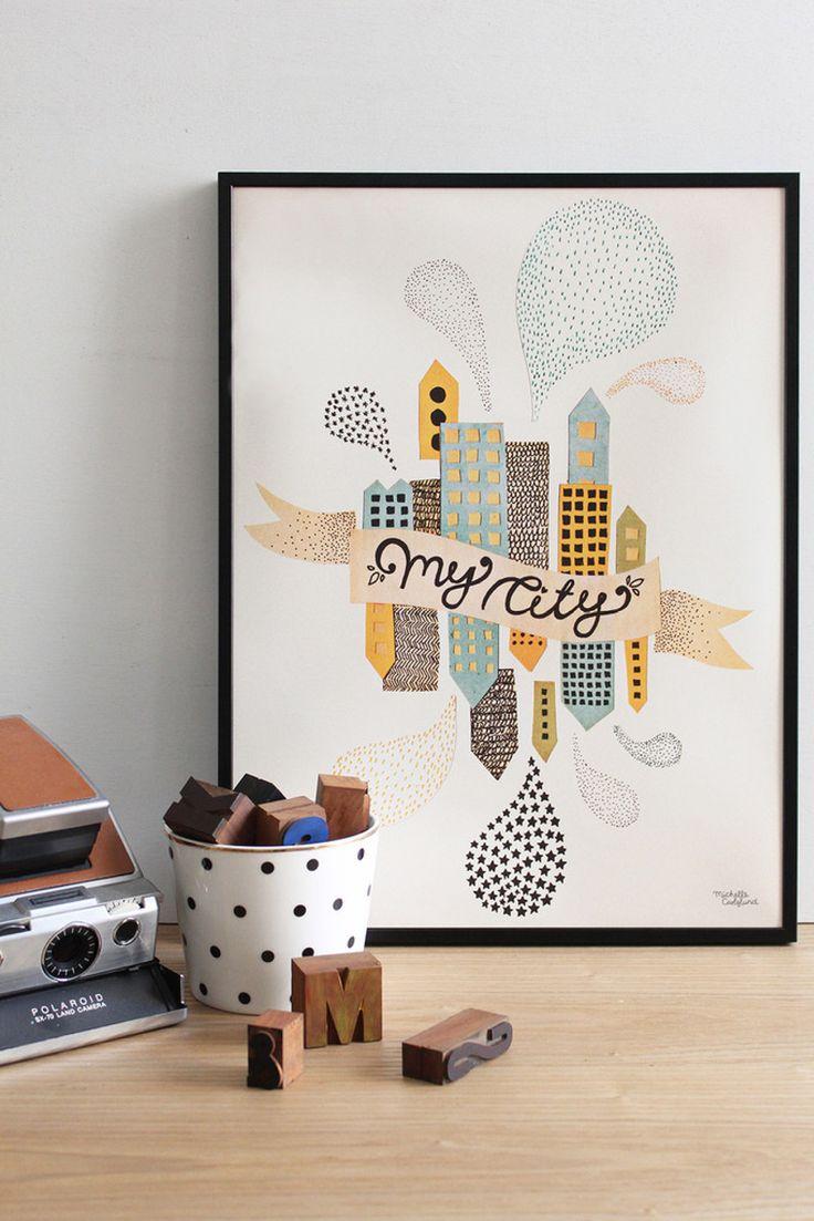 Moderne plakat med huse og med teksten My City. Den fine illustration fra Michelle Carlslund vil passe fint ind i både stuen, soveværelset, børneværelset eller kontoret.