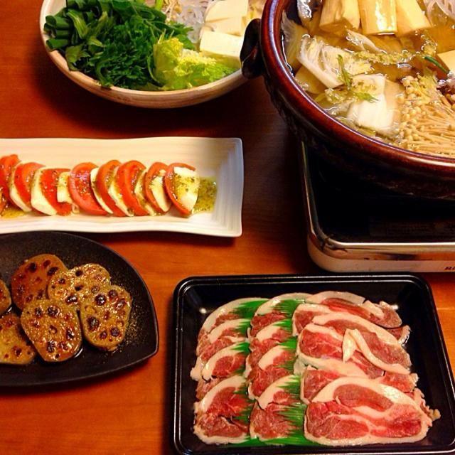 旦那さん 一週間 カンボジアへ出張‼︎ 鴨鍋で行ってらっしゃい - 10件のもぐもぐ - 鴨鍋  レンコン肉詰め焼き   カプレーゼ by miyuyasushima