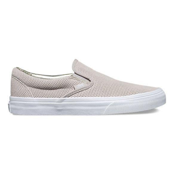 Vans classic slip on in seasonal colors Vans Classic Slip On(Perf Suede)Silver Cloud/Wht(W)