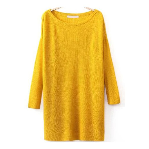 SheIn(sheinside) Round Neck Split Yellow Sweater ($19) ❤ liked on Polyvore featuring tops, sweaters, yellow, long sleeve sweaters, loose fit tops, loose sweater, sweater pullover and long sleeve pullover sweater