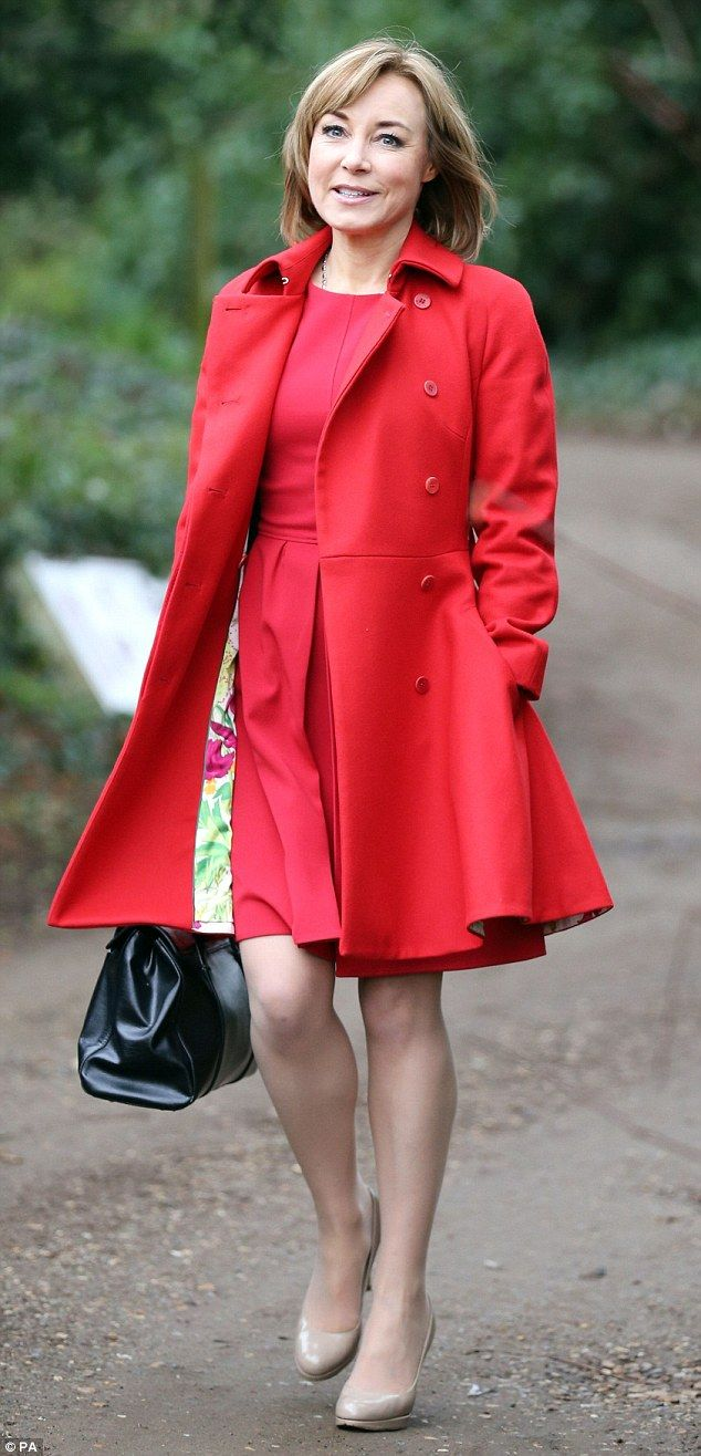 1/21/16.    This year, presenter Sian Williams was the guest speaker and went for a scarlet trench coat and matching skater dress