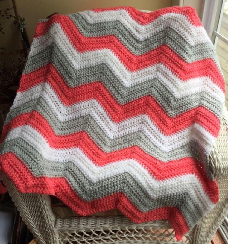chevron zig zag ripple baby toddler blanket afghan wrap crochet knit wheelchair stripes VANNA WHITE yarn lap pink grapefruit gray white girl by JDCrochetCreations on Etsy