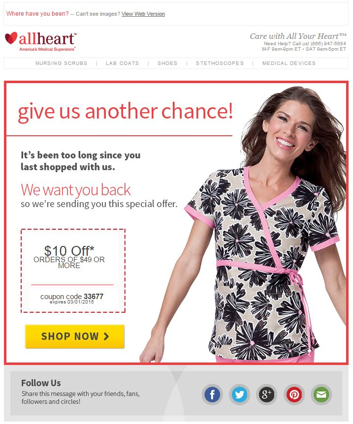Allheart re-engagement email - 10% off your next purchase