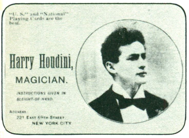 Harry Houdini throwout cards.