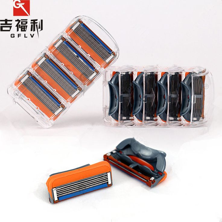 GFLV 4pcs/Lot Men's Face Razor Blades,5 Blade Portable High Quality Shaving Blades Head For Shaver