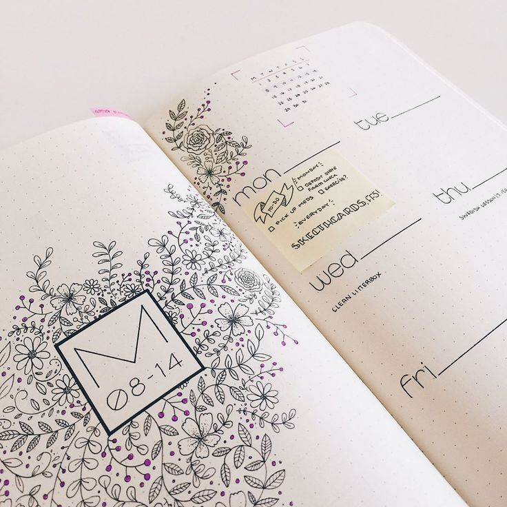 The intention with this spread is that set tasks/appointments get written down and more floating to-dos get written on sticky notes that I will port over to my daily spreads. I'll see how this goes. .