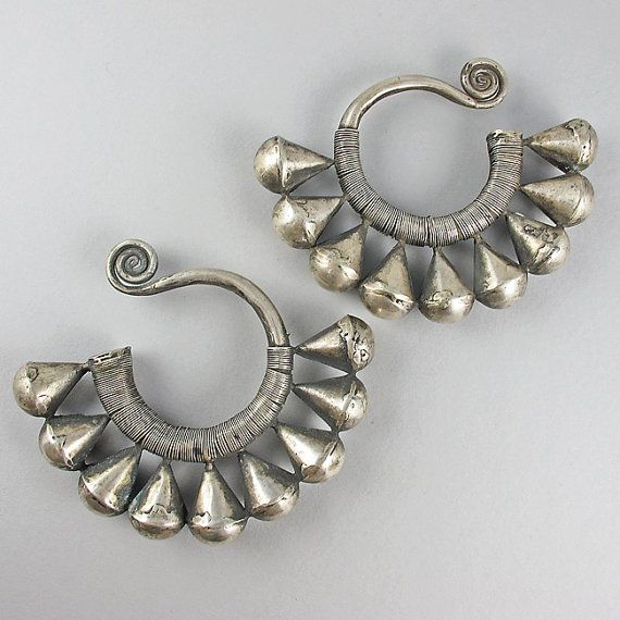 Vintage Chinese Silver Earrings Miao Hmong Jewelry Ethnic Jewelry Asian Jewelry … – ethnic