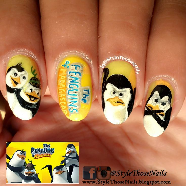 Penguins Of Madagascar - Winter NailsStyle Those Nails: Penguins Of Madagascar - Winter Nails see more here On Blog check out :) http://stylethosenails.blogspot.com/2014/12/penguins-of-madagascar-winter-nails.html #penguinnails #winternails #movienails #penguinsofmadagascarnails