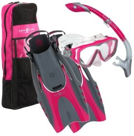 Explore the underwater world with the Aqua Lung Sport® Women's 4-Piece Snorkel Set. The mask has a low profile single lens design with and features three-way adjust pro-Glide Buckles for easy adjustments. The set also includes the Island Dry Snorkel, Hingeflex Fins, and travel bag so you can explore underwater until nothing is left undiscovered.