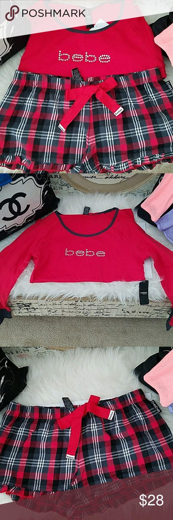 Bebe Pajama Short set S New with tags. Plaid pj shorts with ruffles and long sleeve rhinestone top. Love it or list it item. bebe Intimates & Sleepwear Pajamas