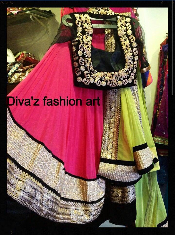 Neon,pink and black colour lahenga with embroidery just perfect combination