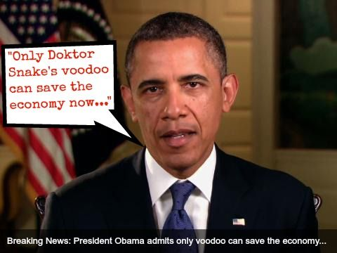 President Obama finally comes clean that he needs help - divine assistance ain't enough, he needs that ole black magick.
