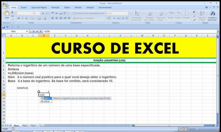 A Função ou Fórmula LOG do Excel retorna o logaritmo de um número em uma determinada base específica.  https://youtu.be/hWryhXmttOM