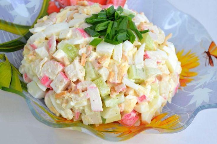 Салат с сыром косичка и крабовыми палочками
