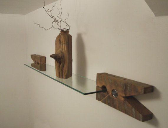 Reclaimed Wood Brackets. Glass Wall Shelf. Unique Furniture.