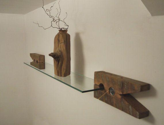 Reclaimed Wood Brackets. Glass Wall Shelf. Unique Furniture. Modern Rustic Floating Shelf. Wood Clip Shelf Bracket.
