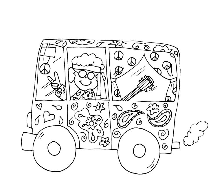 Hippie van coloring pages