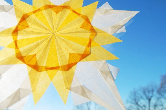 Sun origami paper window stars decorations Set of by FindingNorth