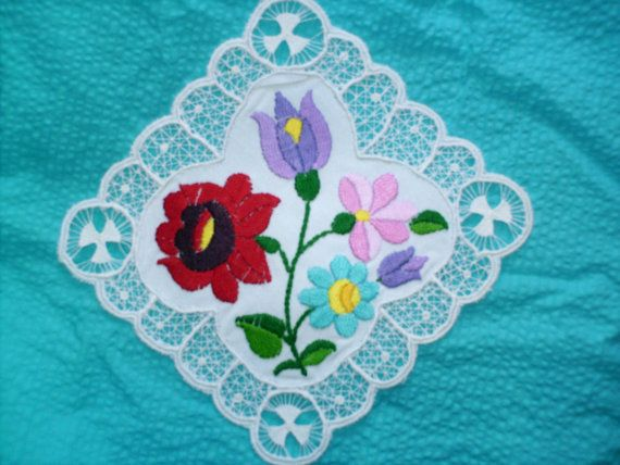 Delightful romantic Traditional Hungarian Kalocsa  EMBROIDERY DOILY, Wedding gift.