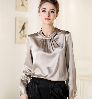 The new silk shirts women long sleeve shirt sleeve head big yards cultivate one's morality blockbuster mulberry silk 3