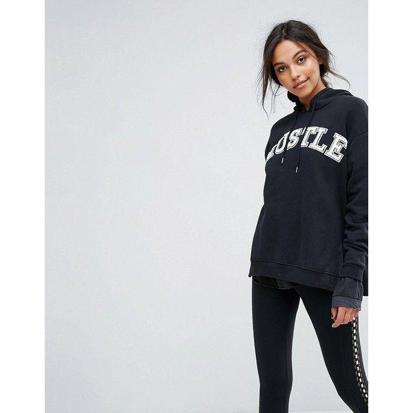 Free People Hustle LOgo Hoodie (500 DKK) ❤ liked on Polyvore featuring tops, hoodies, black, free people hoodie, hooded pullover, boho tops, tall hoodies and print hoodie